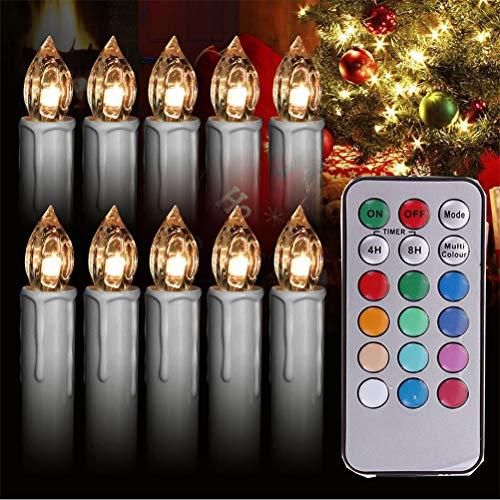 Velas LED de Navidad con mando a distancia inalámbrico, con clip en velas, velas LED cónicas para árbol de Navidad, velas inalámbricas con control remoto, brillo regulable y parpadeo