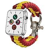 ESTUYOYA - Pulsera de Cuerda Compatible con Apple Watch Colores Bandera de España Transpirable Cierre de Seguridad Acero Inoxidable para Aventura 42mm 44mm Series 6/5 / 4/3 / 2/1 / SE/Nike+