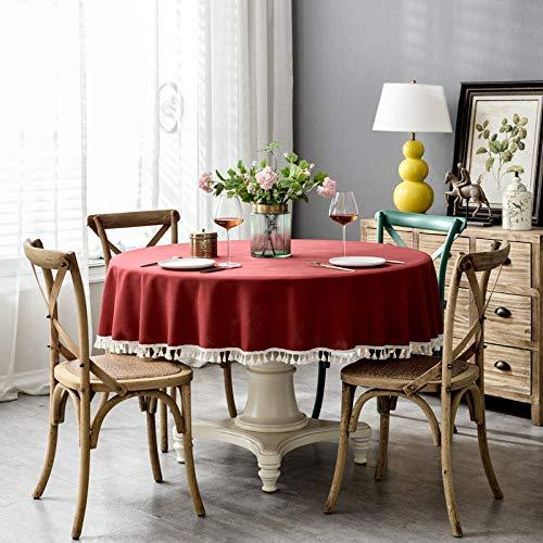 ShiyueNB waterdichte puur pigmentkleur imitatiekatoen en linnen vierkant kant kant ronde tafel salontafel tafelkleed tafelkleed Rund 200cm Jujube Rot + Quaste (Wasserdicht)