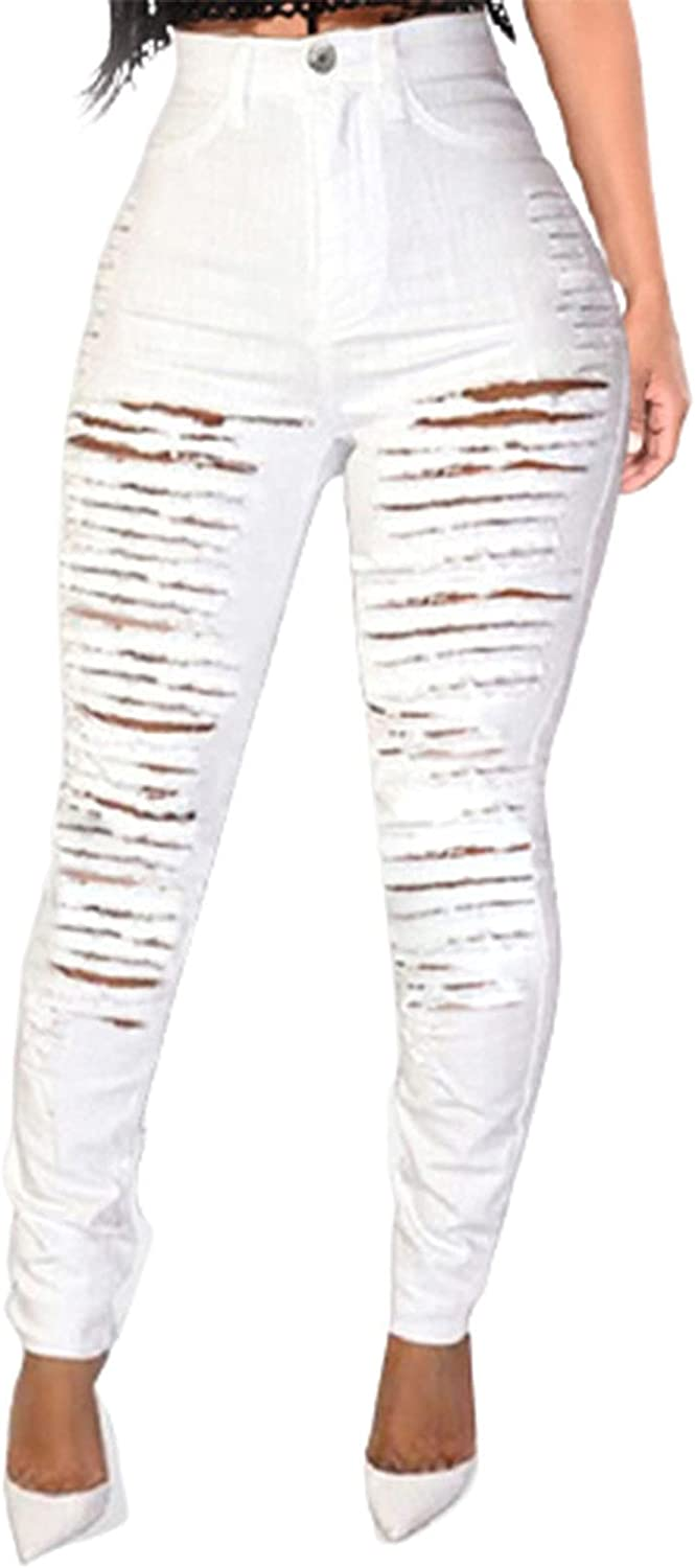 Women's White Mom Jeans High Waisted Ripped Butt Lift Skinny Denim Pants Slim Fit Distressed Jeans Pants