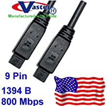 Vaster, IEEE 1394b 800 Mbps Firewire Bilingual Cable (9 P - 9 P) 1.5 Ft