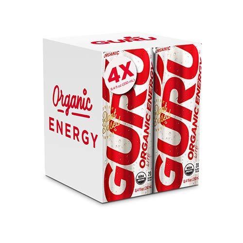 GURU Lite Organic Low Calorie Energy Drink with Green Tea, 8.4 Ounce (Pack of 4), Stevia & Monk Fruit …