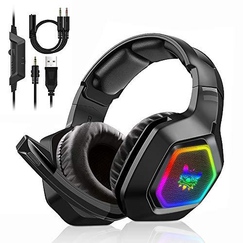 Gaming Headset PS4 PC Xbox One Kopfhörer mit Mikrofon Surround-Sound, bequeme Ohrenschützer mit LED-Beleuchtung Geeignet für 3,5-mm-Buchse
