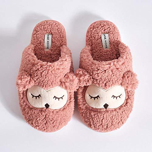 NIKAI pantoffels dames vaste zool, nieuwe sterke katoenen hechts, warme hoofdwinter-kortsluitingpluche huishoudtrekkers van de winterkarikatuurkunst