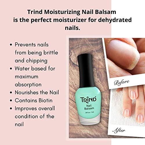 Trind Nail Balsam water based nourishment for dry and brittle nails, biotin nail moisturizer, .3oz