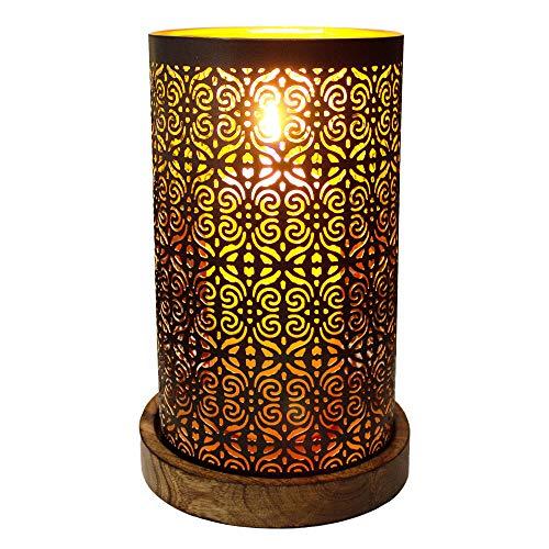 ToCi windlicht op mangohout sokkel kandelaar lantaarn nachtlampje decoratie oosterse lamp