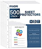 """500 PACK SHEET PROTECTORS: PANDRI polypropylene sheet protectors are perfect for standard letter sized paper, our top loading 9.25"""" x 11.25"""" sheet protectors with 11 holes fit 8.5 x 11 paper and will keep your standard letter sized papers safe in mos..."""