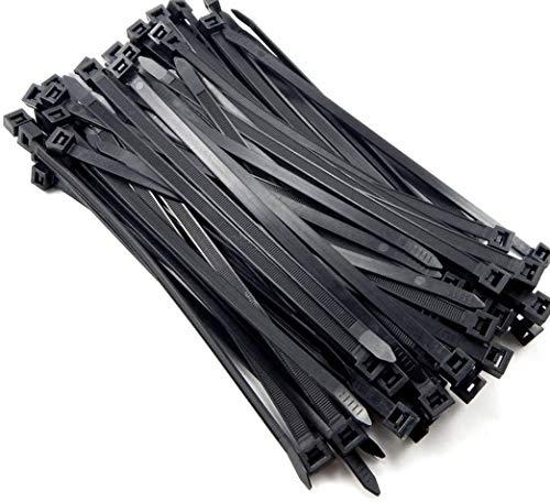 Sujetacables de plástico 400 mm x 7,6 mm, negro bridas para cables, envolturas de corbata de alta resistencia, Fuerte y largo, Resistencia a altas temperaturas, cable management,100 piezas