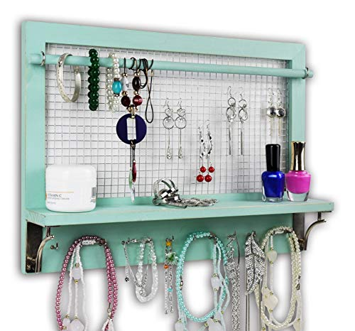 Spiretro Shabby Chic Turquoise Wall Mount Wooden Jewelry Organizer Holder Rack with Hooks Shelf and Removable Rod Hanging Display Earrings Necklaces Bracelets Rings Storage Accessories