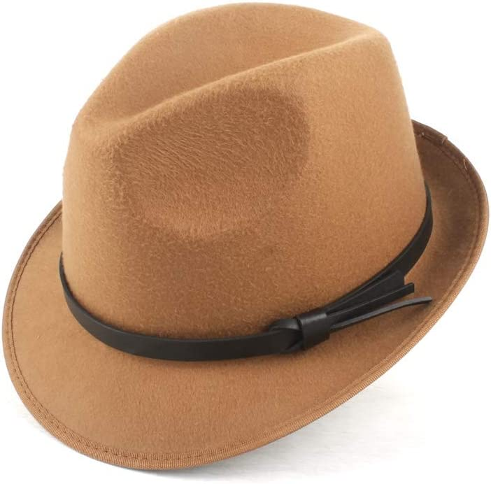 LHZUS Hats Hat Female Fashion Suitable for Dad Knight Autumn Wool Polyester Fedora Hat Jazz Hat Winter Church Hat Fashion Hat (Color : Coffee, Size : 58CM)