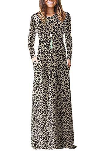 AUSELILY Dam långärmad lös enkel plusstorlek maxiklänningar avslappnade långa klänningar med fickor