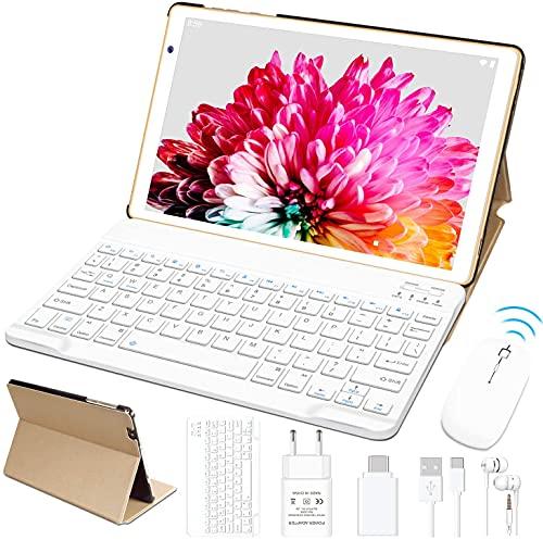 FACETEL Tablette 10 Pouces Processeur Octa-Core 1.6 GHz Tablettes Tactile Android 10 Pro, 4Go RAM 64Go ROM (MicroSD 4-128 Go) | Wi-FI | Bluetooth 4.0 | Clavier & Souris - Or
