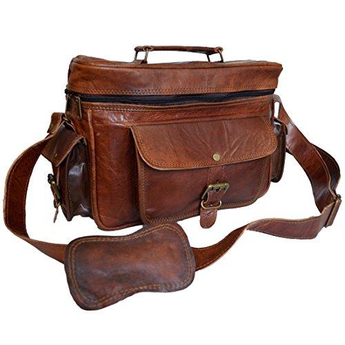 Mad Over compras bolso vintage para la cámara de cuero real original para hombre DSLR SLR bolsas de fotos