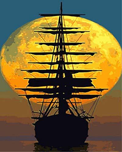 Pintar por Numeros Barco Fantasma Luz De Luna con Pintura Acrílica para Decoración del Hogar Pintar por Números para Niños Adultos Kit Sin Marco 40,6X50,8 Cm