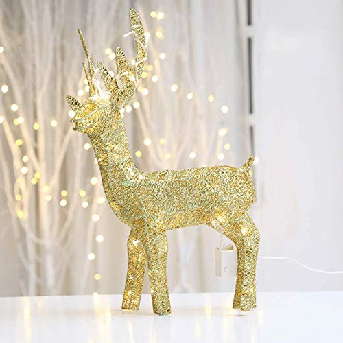 YWZQ Lights Decorations Light Up Reindeer with Sequin Weaving Iron Wire LED Light Warm White Indoor Outdoor-03