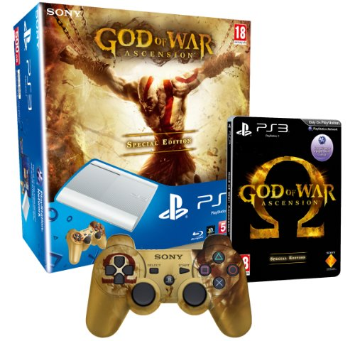 Sony Playstation 3 Limited Edition White 500Gb Super Slim Console With God Of War Ascension Special Edition And Branded Dualshock 3 Controller (PS3) [Importación Inglesa]