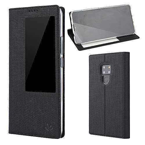 RanGuo Compatible für Huawei Mate 20 X Hülle, Leder Handyhülle Smart Wake Up Window View Dünn klappbares Flip Ledertasche Case Mit Standfunktion Magnetverschluß Holder Schutzhülle (Schwarz)