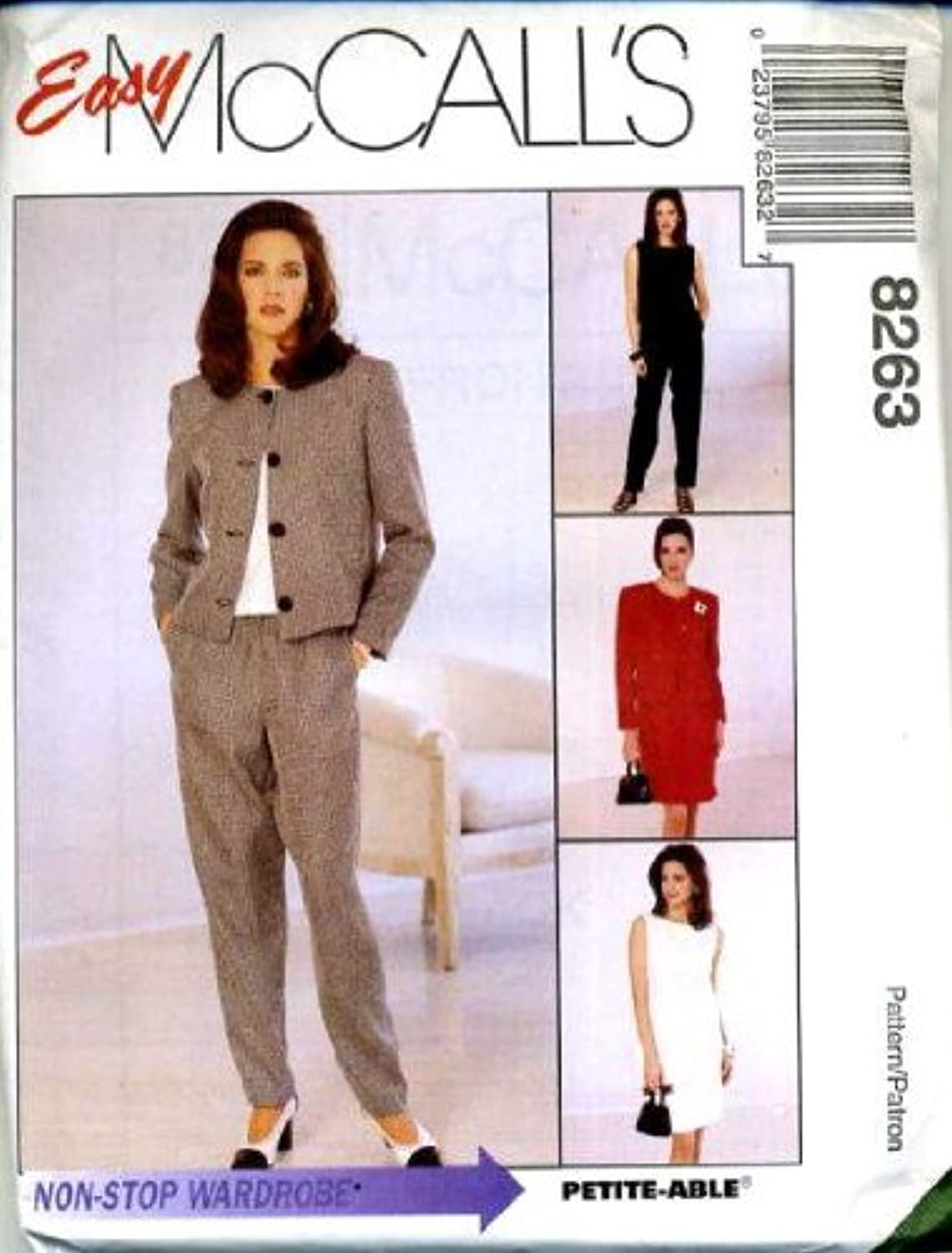 McCall's Sewing Pattern 8263 Misses' Lined Jacket, Dress or Top, Pull-on Pants & Skirt, F (Size 16 18 20)
