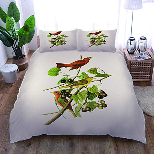 Fugeges Bedding Set Leafy Bird 3-Piece Duvet Cover Set And Pillowcases, With Zipper And Security Tapes 140X200Cm