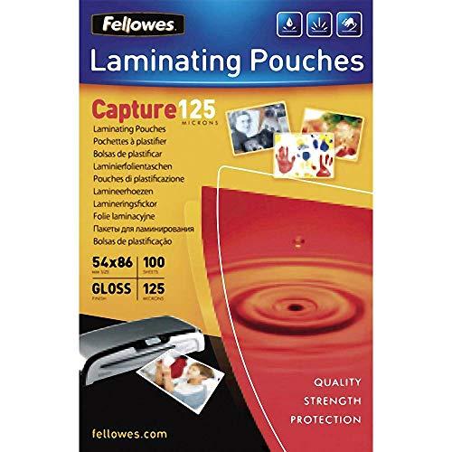 Fellowes 5306302 - Pack de 100 fundas de plastificar, formato 54 x 86 mm, 125 micras