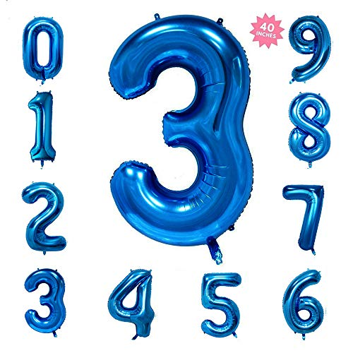 40 Inch Blue Jumbo Digital Number Balloons 3 Huge Giant Balloons Foil Mylar Balloons for Birthday Party,Wedding, Bridal Shower Engagement Photo Shoot, Anniversary