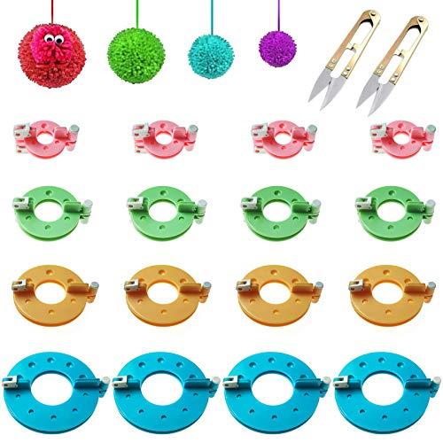 Nother XianzhanEU - 32 piezas (16 pares) para hacer pompones, hacer pompones, hilo de lana y manualidades de muñecas, 4 tamaños, con 2 tijeras (4 colores)