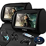 XTRONS Black 2X Twin Car headrest DVD Player 9' HD Touch Screen with...