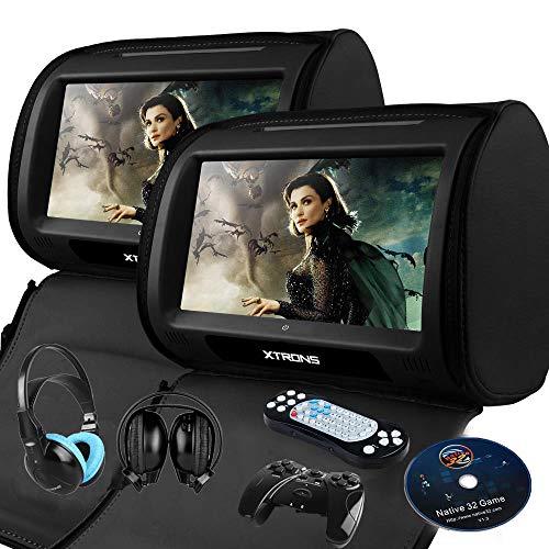 "XTRONS Black 2X Twin Car headrest DVD Player 9"" HD Touch Screen with Game Disc Mp3 IR Headphones"