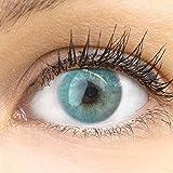 GLAMLENS lentillas de color azules Venedig Blue + contenedor. 1 par (2 piezas) - 90 Días - Sin Graduación - 0.00 dioptrías - blandos - Lentes de contacto azul de hidrogel de silicona
