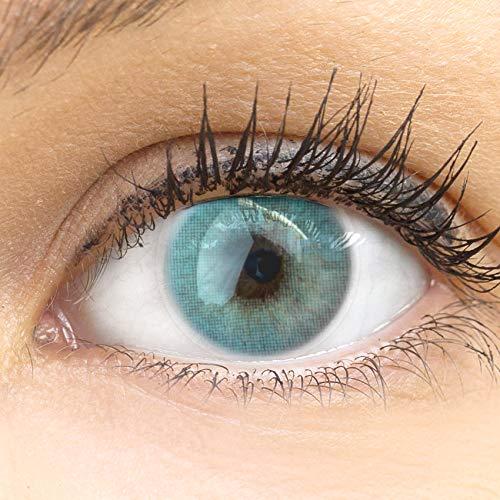 GLAMLENS Venedig Blue blau + Behälter | Sehr stark deckende natürliche blaue Kontaktlinsen farbig | farbige Monatslinsen aus Silikon Hydrogel | 1 Paar (2 Stück) | DIA 14.00 | Ohne Stärke