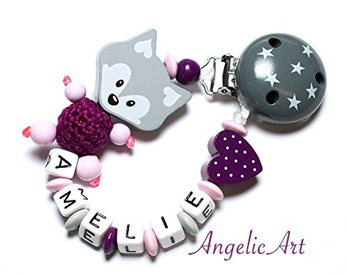 Schnullerkette mit Namen - Junge Mädchen - VIELE MODELLE - Häkelperle 3D Tiere Motivscheiben (005 purpur, grau)