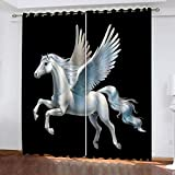 KJQTEN Blackout Curtains 2 Panels White Angel Animal Horse Top Eyelet Solid Thermal Insulated Curtains for Bedroom/Living Room Childrens Bedroom 3D Printed Polyester Curtains 264x242cm ( W x H )