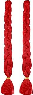 MYCHANSON 100% Kanekalon Synthetic High Temperature Braiding 41inch 2Pcs/lot Long Crochet Jumbo Braids Hair Extensions (Red)