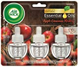 Air Wick plug in Scented Oil 3 Refills, Apple Cinnamon Medley, Holiday scent, Holiday spray, (3x0.67oz), Essential Oils, Air Freshener, Packaging May Vary