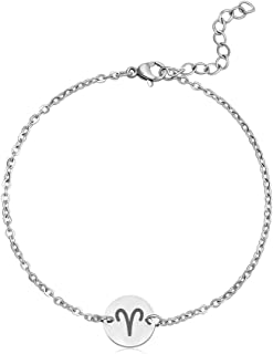 TUSHUO Simple Stainless Steel 12 Constellation Pendant Bracelet Constellation Jewelry for Women