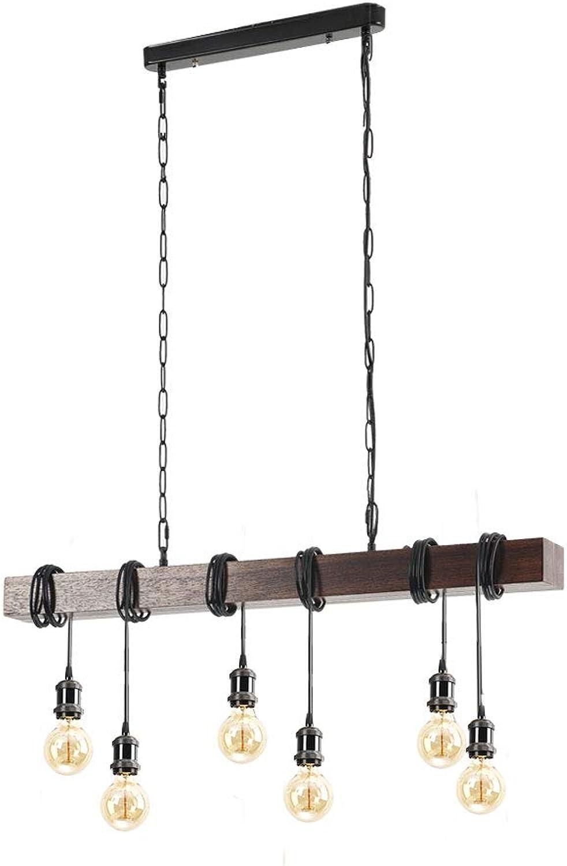 CARYS Pendelleuchte Vintage Hngelampe Holz Hngeleuchte Retro Kronleuchter Hhenverstellbar E27 Glühbirne Industrial Deckenleuchte Leuchten für Esszimmer Wohnzimmer Küche Bar(6-flammig)