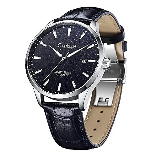 CADISEN Day-Date Homage Relojes mecánicos automáticos, movimiento MIYOTA 8285, cristal de zafiro, relojes de negocios de acero inoxidable, Plata y negro.,