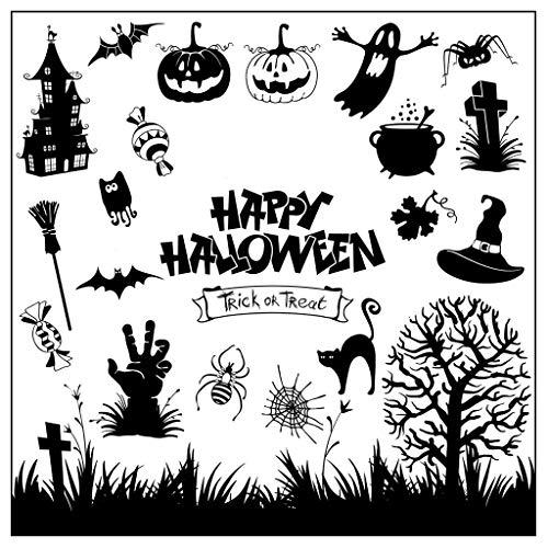 WuLi77 Happy Halloween Transparente Silikon-Stempel für Karten Basteln Schablonen DIY Prägung Foto Album Basteln Kunst Handarbeit Geschenk Scrapbooking