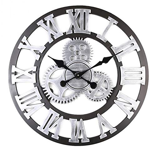 3D 60*60cm Grand Classique Vintage En Bois Silencieux Horloge Murale Rétro Vitesse Pendaison Horloge Chiffre Romain Horologes Style Européen Steampunk Décor Industriel Pour Salon, Bar, D'argent