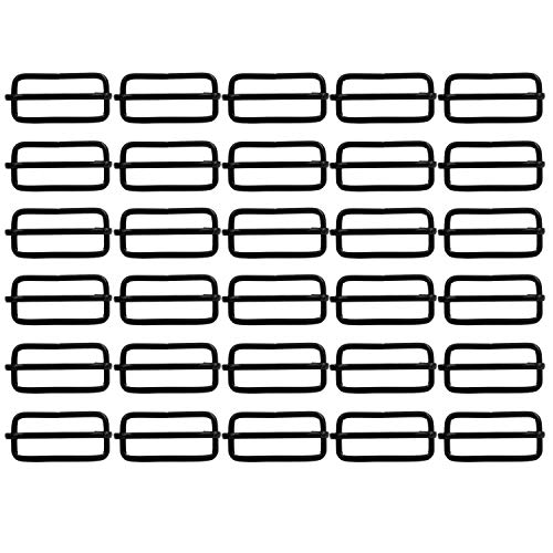 BIKICOCO 1-1/2'' Metal Slide Adjuster Buckle Tri-Glides with Movable Center Bar, for Straps, 3/25'' Wire Thickness, Black, Pack of 30