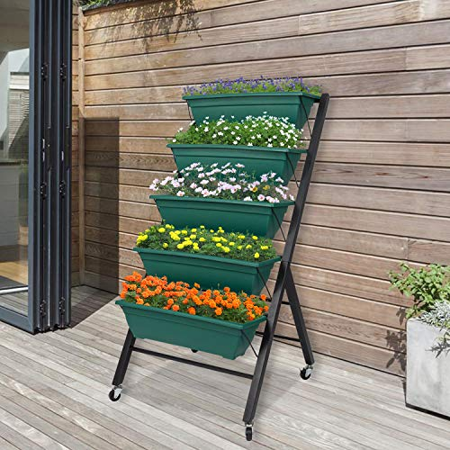 Raised Garden Bed with Wheels Vertical Garden Freestanding Elevated Planters with 5 Container Boxes for Outdoor Indoor Patio Balcony