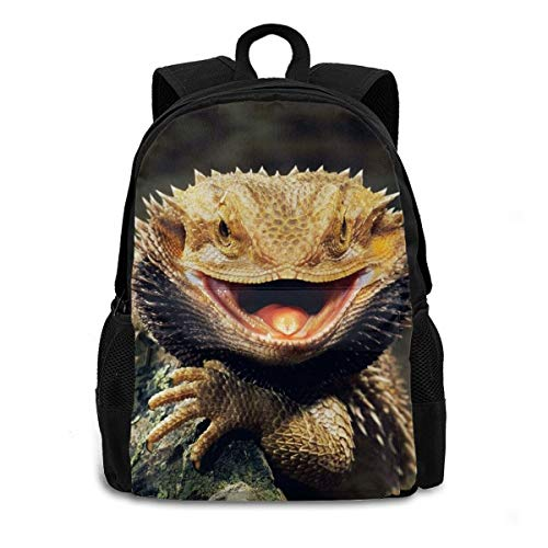 Bearded Dragon Lizards Laptop Backpack Durable Lightweight School Bookbag Casual Daypack Travel Hiking Camping College