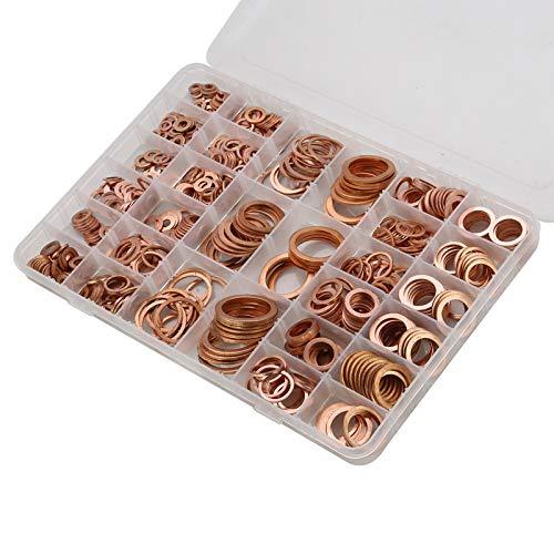 YORKING 568x Kupfer-Dichtring-Klassifizierungskit Kupfer-Dichtring Kupferring Kupferscheibe + Box Geeignet für Schrauben- und Bolzenverbindungskomponenten
