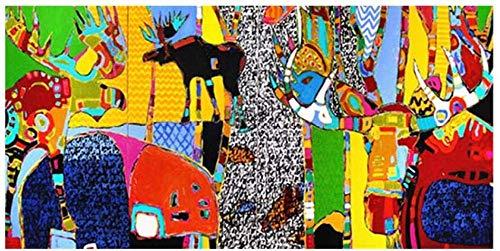 Rompecabezas de animales de dibujos animados, pintura al óleo de arte abstracto, rompecabezas de madera de 1000 piezas para adultos, rompecabezas de mesa para el piso de la sala de estar para niñ