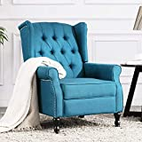 Altrobene Fabric Push Back Recliner Chair, Accent Arm Chair for Living Room/Bedroom/Home Office, Home Theater Seating with Tufted Wingback, Blue