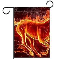 ガーデンフラッグ、火の馬 、季節の屋外旗28x40両面ホームヤード装飾