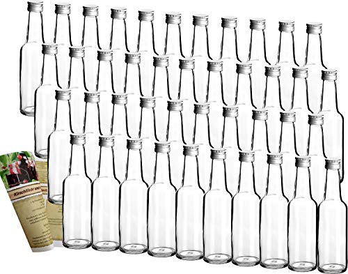 gouveo 42 Leere Glasflaschen Bordeaux 250 ml incl. Schraubverschluss und Flaschendiscount-Rezeptbroschüre zum selbst Abfüllen Likörflasche Schnapsflasche