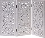 Meinposten Holzornament weiß 60x45 cm Fensterdeko Shabby Landhaus Mandala Holz Holzbild eckig Ornament Paravant