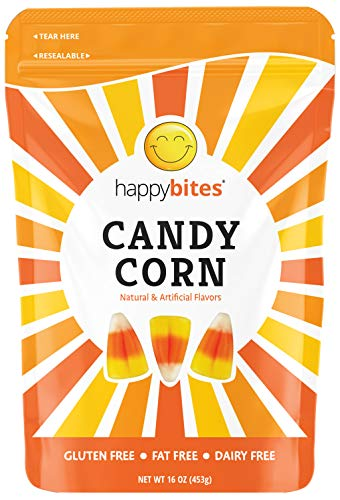 Happy Bites Candy Corn - Gluten Free, Fat Free, Dairy Free - Halloween Favorite - Resealable Pouch (1 Pound)