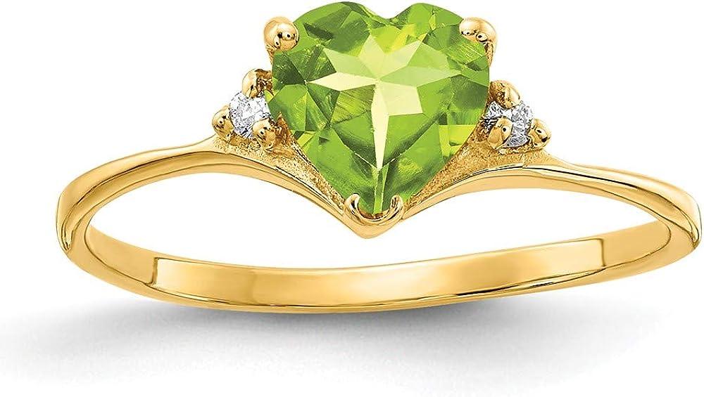 Solid 14k Yellow Gold 6mm Heart Peridot Green August Gemstone VS Diamond Engagement Ring (.024 cttw.)